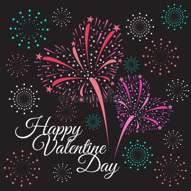 Happy valentine day - heart firework on black background stock illustration