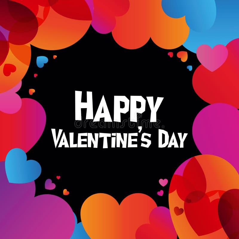 Happy Valentine Day instagram card in trendy color transition style. Happy Valentine Day instagram card in 2019 graphic trend, color transition and heart-shape vector illustration