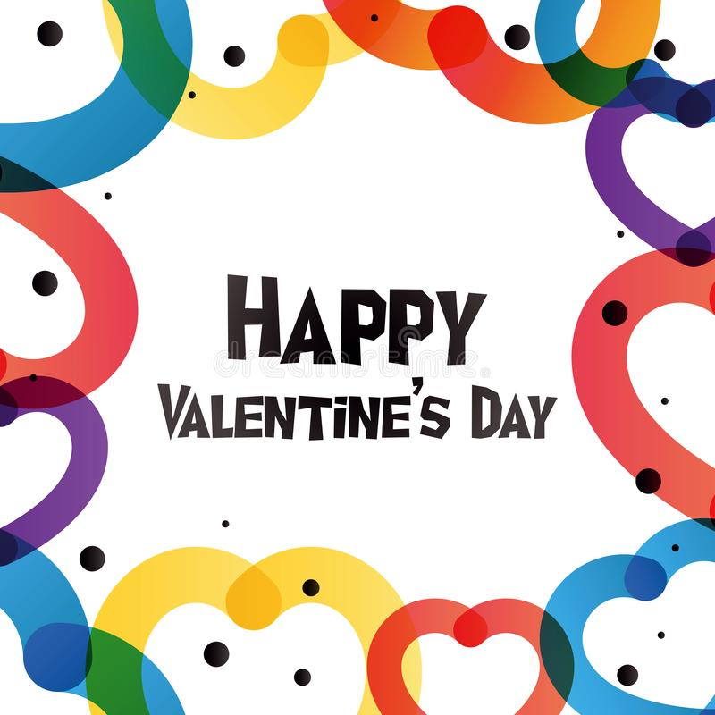 Happy Valentine Day instagram card in trendy color transition style. Happy Valentine Day instagram card in 2019 graphic trend, color transition and heart-shape royalty free illustration