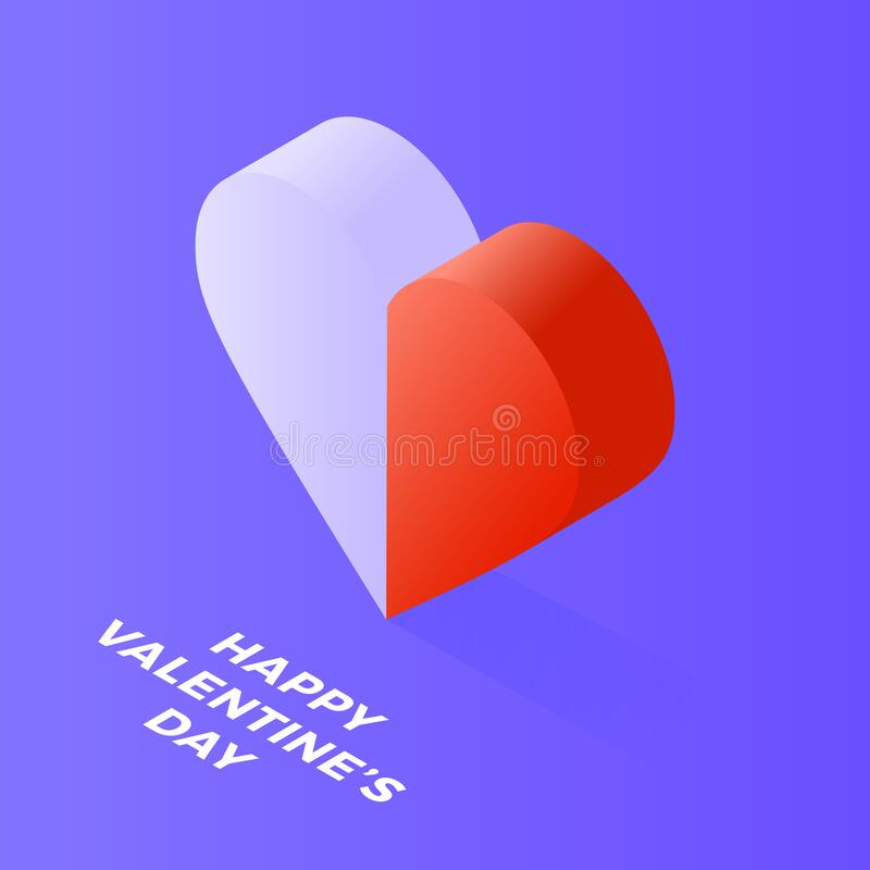 Happy Valentine Day Isometric heart made of two halves, white and red, on blue. Love, peace, harmony, opposites and extremes meet royalty free stock photo