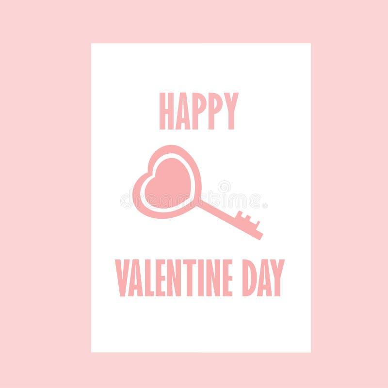 Happy Valentine day , Key Valentine , Pink vector illustration