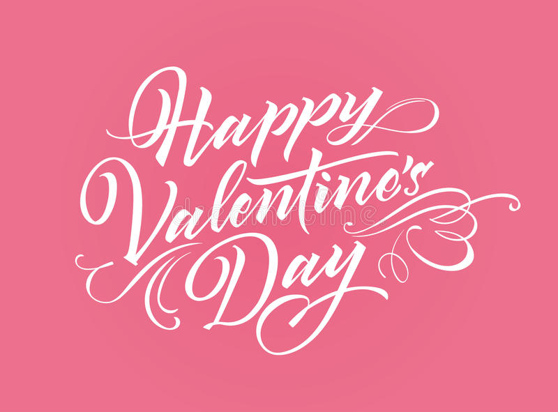 Happy Valentine Day lettering. For greeting card, poster or banner stock illustration