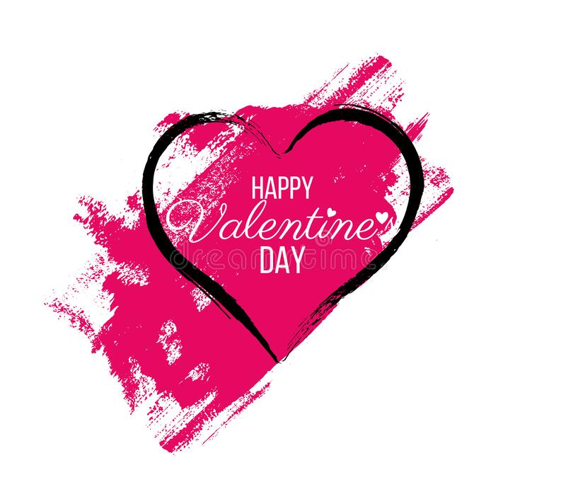 Happy Valentine Day lettering Greeting, vector stock photo