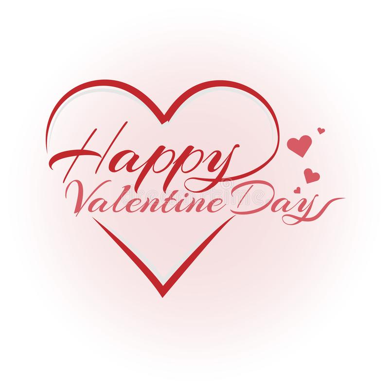 Happy valentine day lettering text vector brush background. Happy valentine day lettering text vector brush isolated with red heart on white background vector illustration