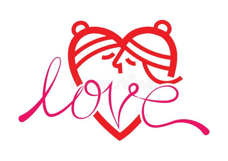 Happy valentine day. love kissing symbol. Vector illustration stock illustration