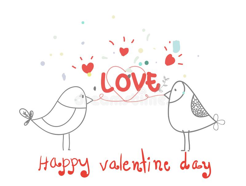 Happy valentine day,lovely bird with heart cartoon,love,creative drawn hands made card,elements,love,flyers, invitation,brochure,. Banners,posters vector illustration