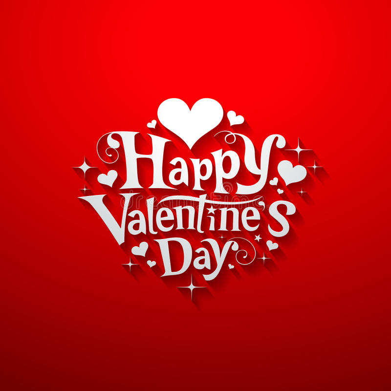 Happy Valentine day message banner. Design on red background, illustration vector illustration