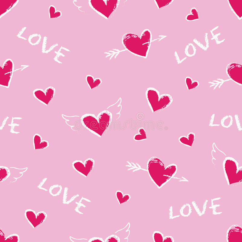 Happy Valentine Day Seamless Pattern. Vector Cute Hand Drawn Red ...