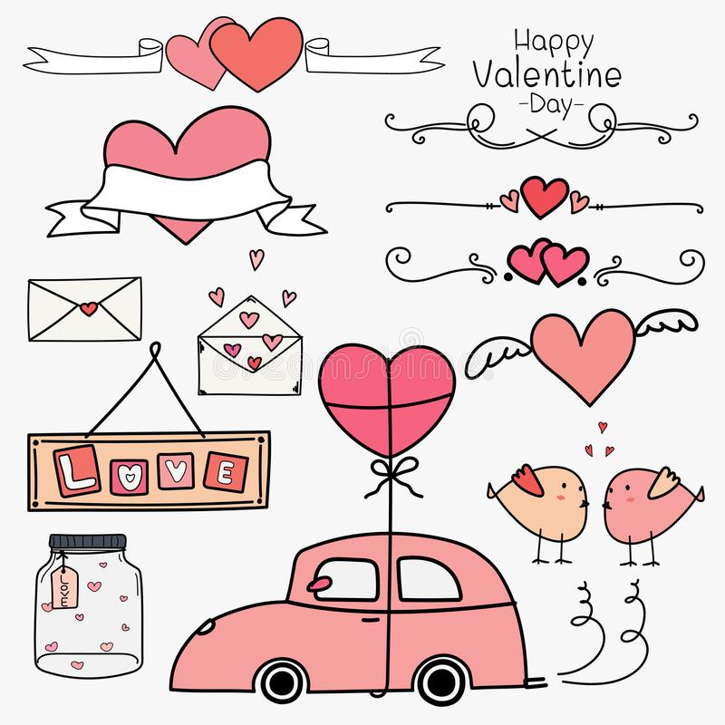 Happy Valentine Day. Set Of Doodle Valentine Day Ornaments And Decorative Elements Pink Concept. vector illustration
