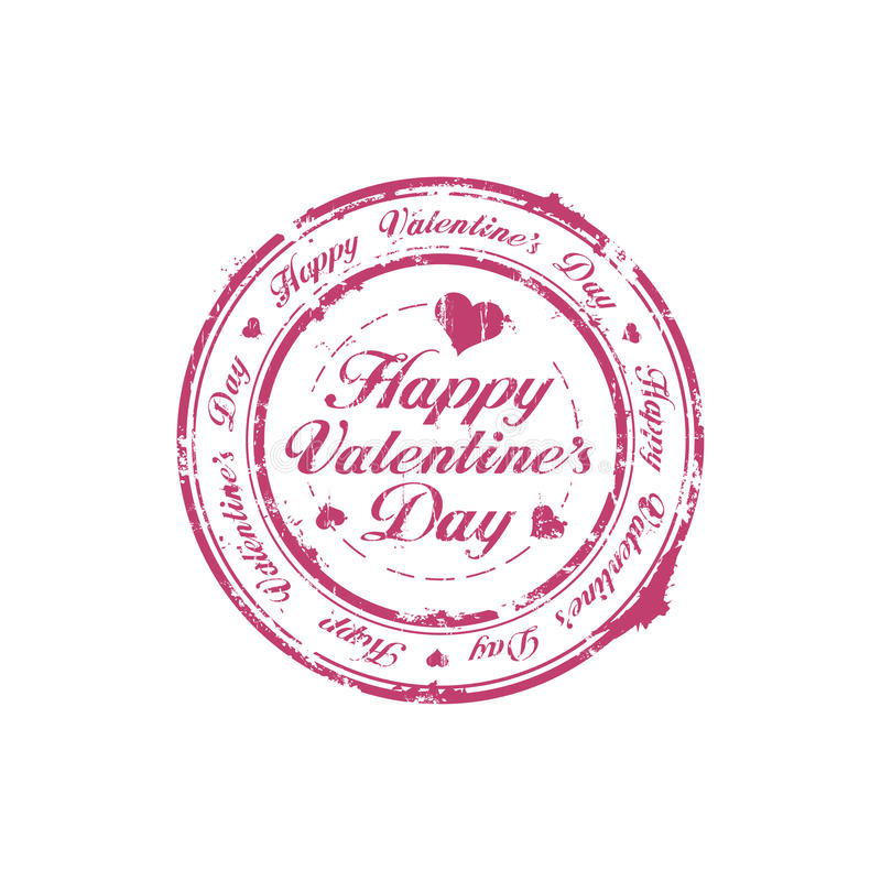 Happy Valentine Day stamp. Happy Valentine Day rubber stamp stock illustration