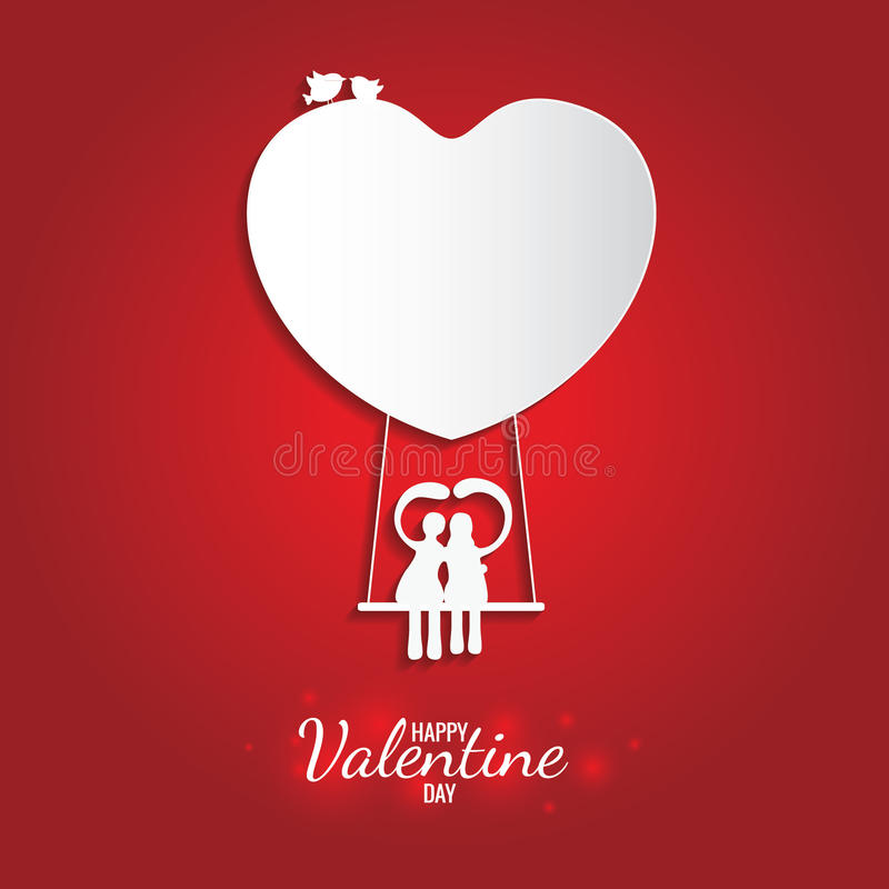 Happy valentine day sweet white heart and swing on balloon. Card for happy valentine day sweet white heart and swing on balloon royalty free illustration