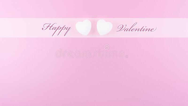Happy Valentine day template for greeting card or postcard with text and line on pink background stock images