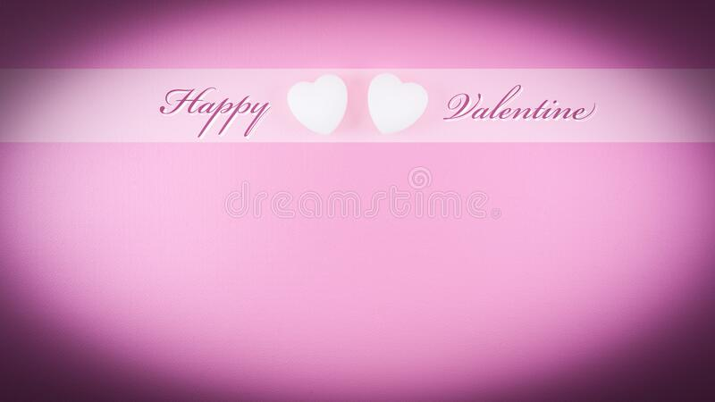 Happy Valentine day template for greeting card or postcard with text and line on pink vignette background stock illustration