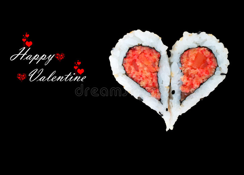 Happy Valentine day. Two pieces of sushi forming the heart shape, Happy Valentine day royalty free stock photography