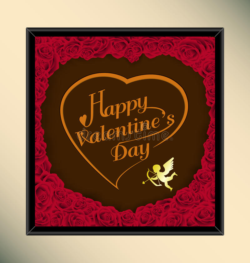 Happy valentine day typography on chocolate background texture vintage style with rose in frame stock photo