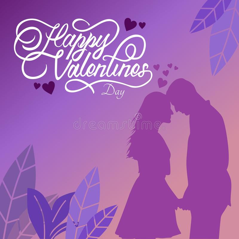 Happy valentine day typography with illustrations. For gift design royalty free illustration