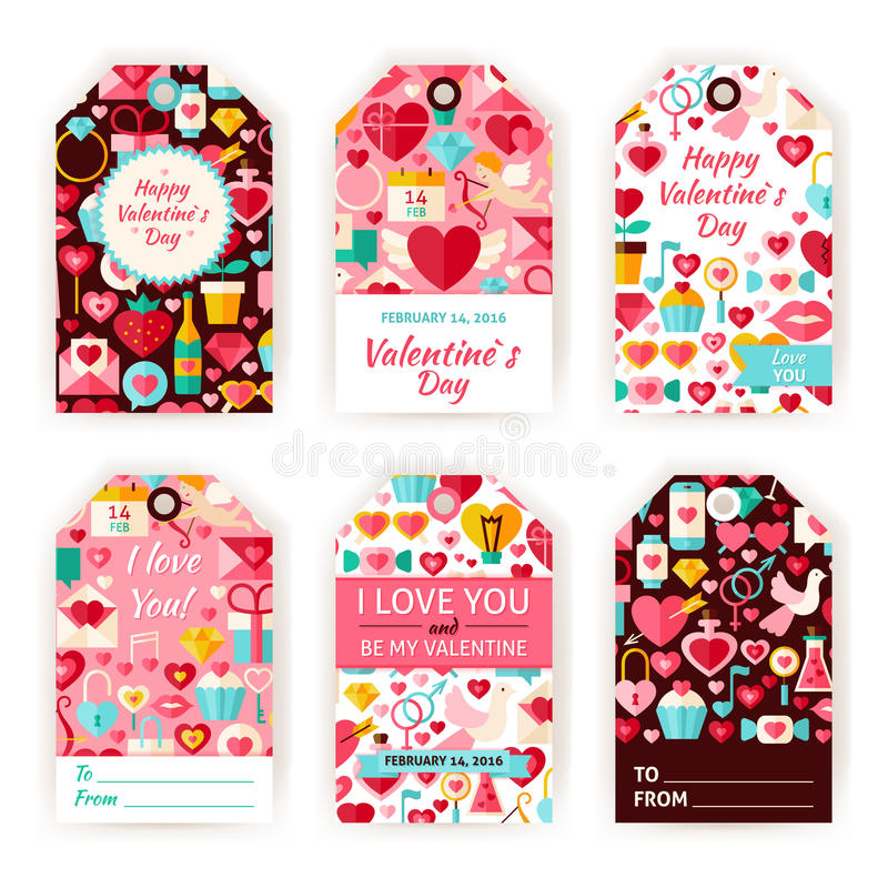 Happy Valentine Day Vector Gift Tag Template Flat Set Stock Vector