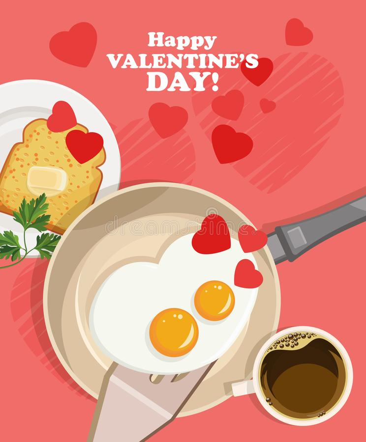 Happy Valentine Day vector illustration with lovely breakfast. With two eggs royalty free illustration