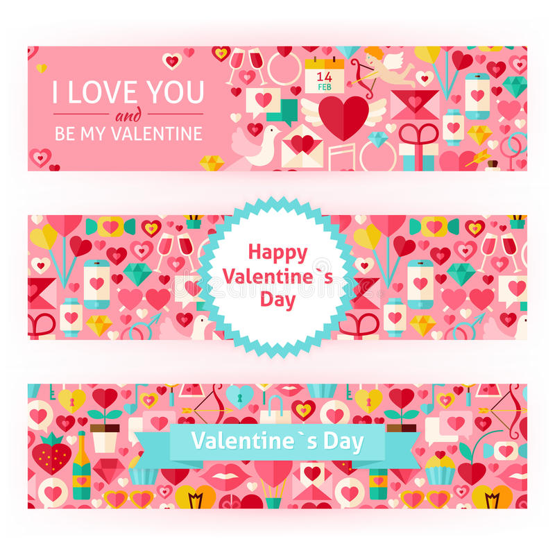 Happy Valentine Day Vector Template Banners Set. Happy Valentine Day Template Banners Set. Flat Design Vector Illustration of Brand Identity for Love Promotion royalty free illustration