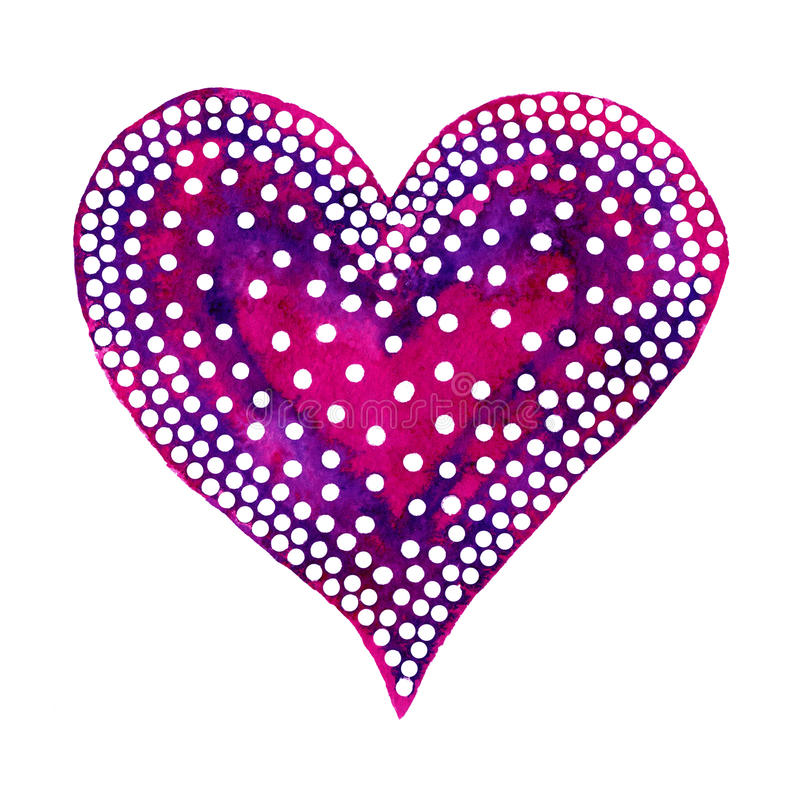 Happy Valentine Day! Watercolor painted heart, element for your lovely design.Watercolor illustration for your card or poster. Colorful watercolor heart on a royalty free illustration