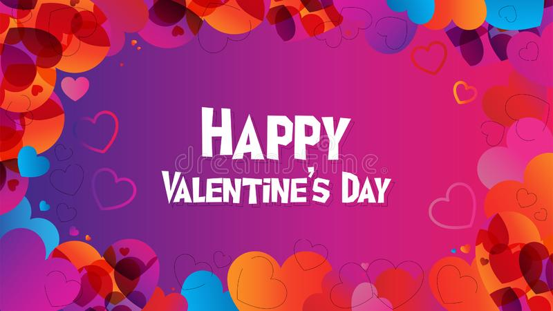 Happy Valentine Day web banner in trendy desire gradient colors. Valentine web header in 2019 graphic trend, heart shapes and desire color gradients stock illustration