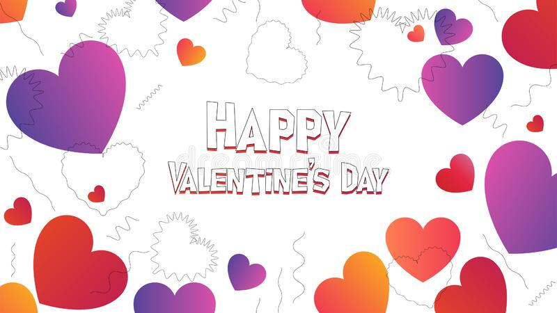 Happy Valentine Day web header in trendy gradients. Valentine web banner in 2019 graphic trend, heart shapes and color gradients stock illustration