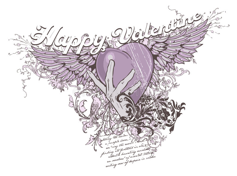 Happy Valentine Design. Of a hand holding a heart with wings vector illustration