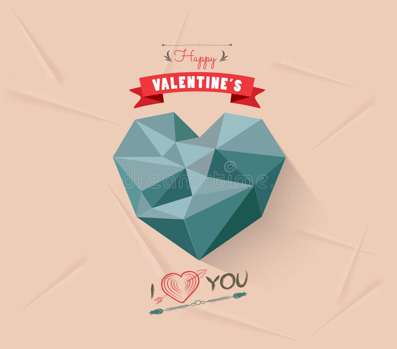Happy valentine with geometrical heart royalty free stock photos