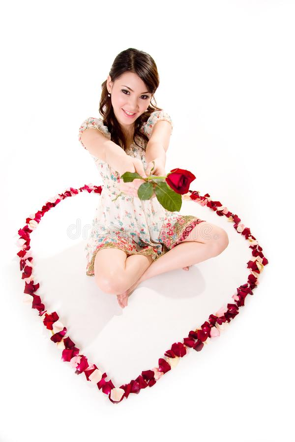 Free Happy Valentine Girl With Roses Stock Images - 4031524