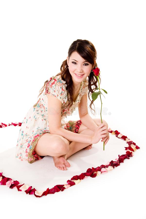Free Happy Valentine Girl With Roses Stock Image - 4031631