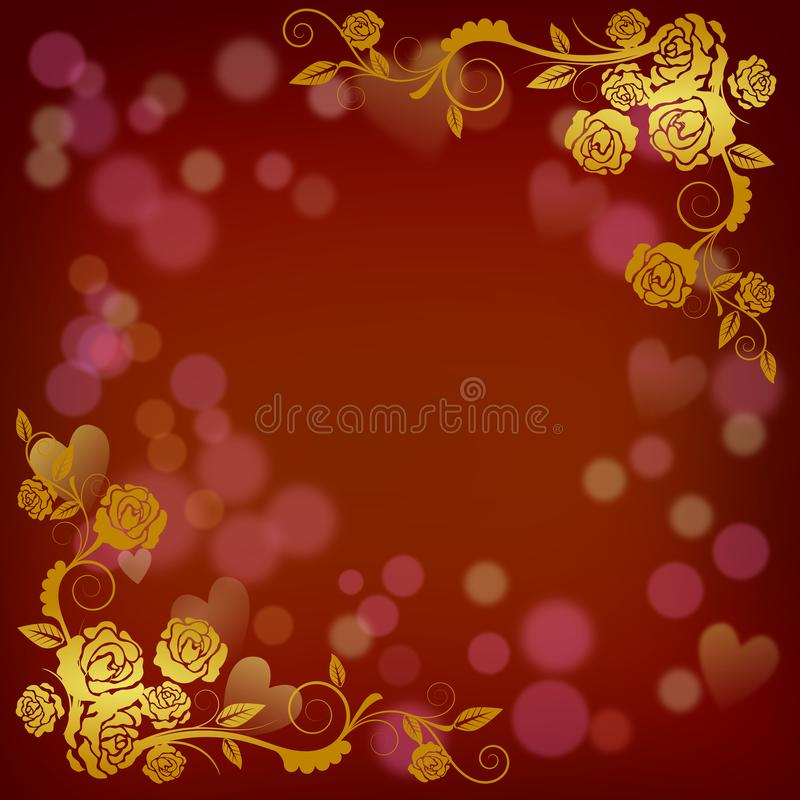 Happy Valentine Card template illustration. Happy valentine greeting card and Love heart at red blur effect background illustrations concept vector for card art stock illustration