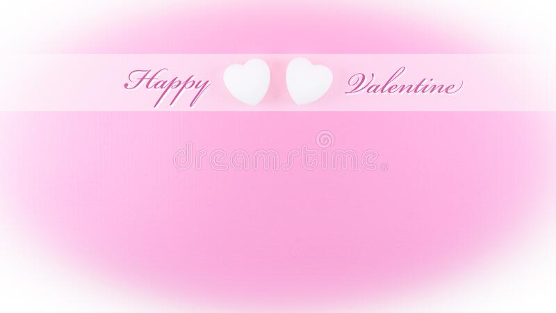 Happy valentine greeting card template with love heart shape on pink background white vignette vector illustration