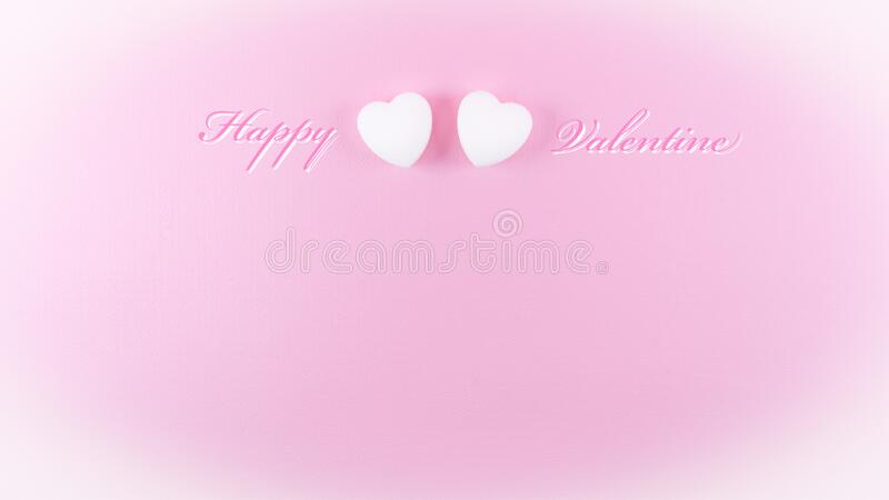 Happy valentine greeting card template with love heart shape and text on pink background white vignette royalty free stock image