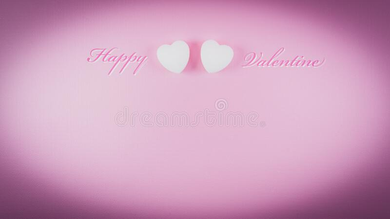 Happy valentine greeting card template with love heart shape and text on vignette pink background stock photography