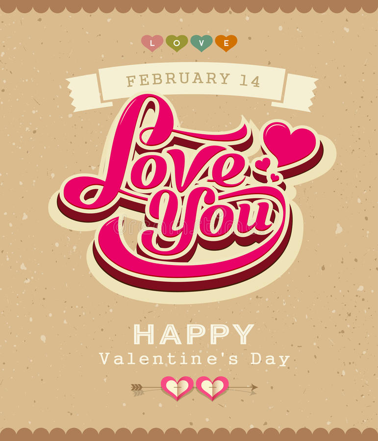 Happy Valentine message classic banner. On recycled paper background, illustration vector illustration