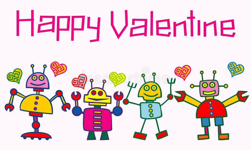 Happy valentine robots. Illustration of happy valentine background with robots royalty free illustration