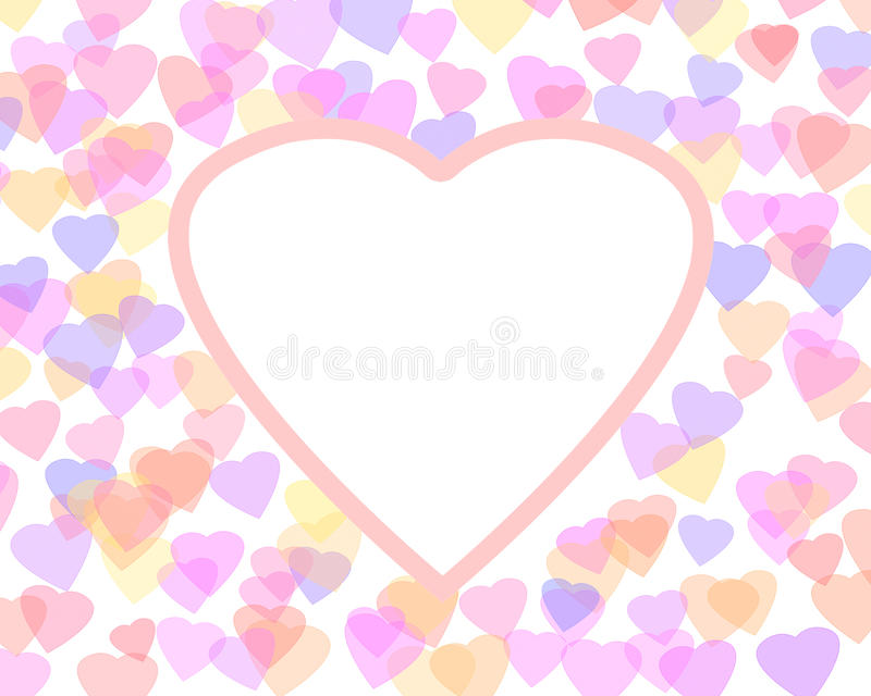 Happy Valentine's day background with color hearts. Romantic illustration. Heart shape frame royalty free illustration