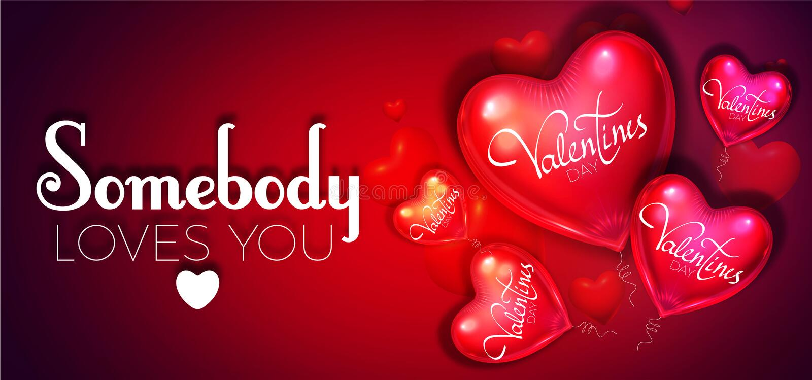 Happy Valentine`s Day Background with Colorful and Glossy Red Foil Heart Balloons. Vector illustration. Happy Valentine`s Day Background with Colorful and Glossy royalty free illustration