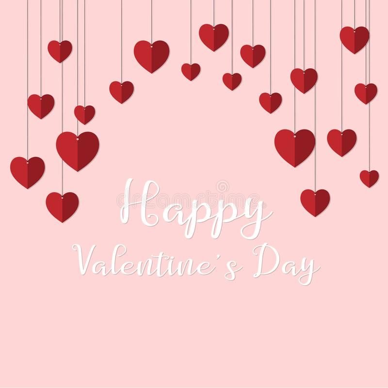 Happy valentine`s day background with hanging stock illustration