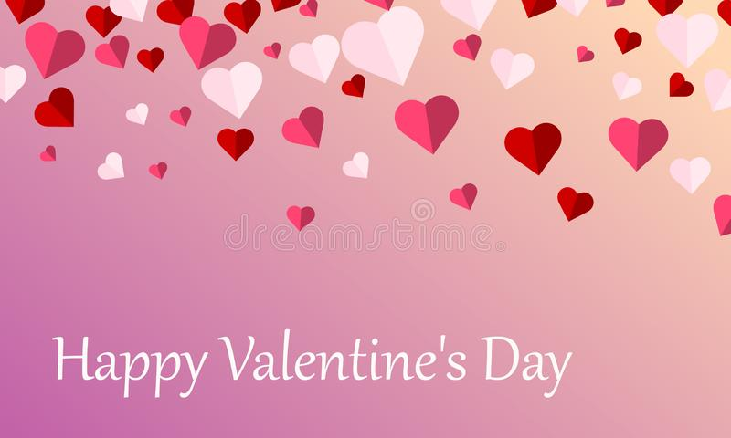 Happy Valentine`s Day Background with Heart Shape Symbols of Love, Greeting card Design. Vector Illustration royalty free illustration