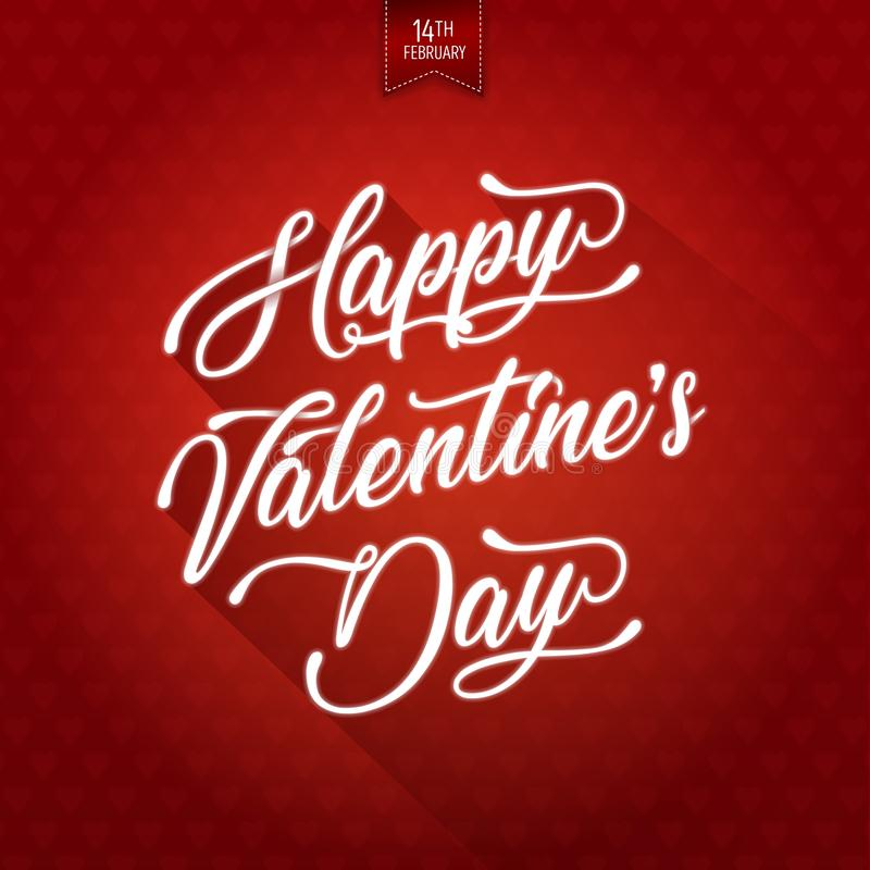 Happy Valentine`s Day Background. Illustration of a happy valentine`s day wishes background, on red parchment scrolls with elegant delicate lettering royalty free illustration