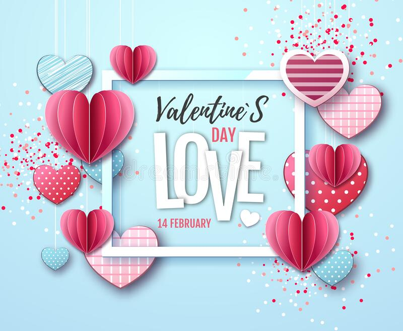 Happy Valentine`s day background with love hearts. Vector illustrtion stock illustration