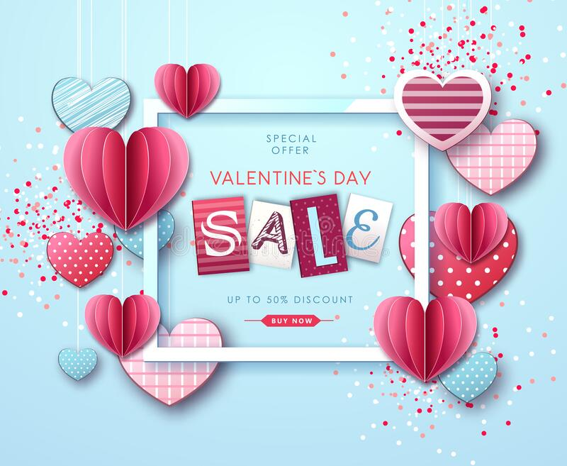 Happy Valentine`s day background with love hearts. Valentine`s day sale poster. Happy Valentine`s day background with love hearts. Valentine`s  sale poster vector illustration