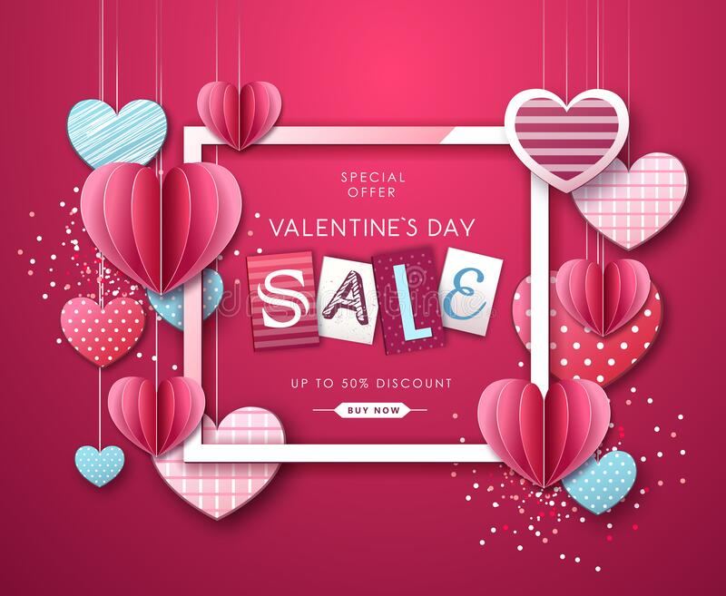 Happy Valentine`s day background with love hearts. Valentine`s day sale poster. Happy Valentine`s day background with love hearts. Valentine`s  sale poster stock illustration