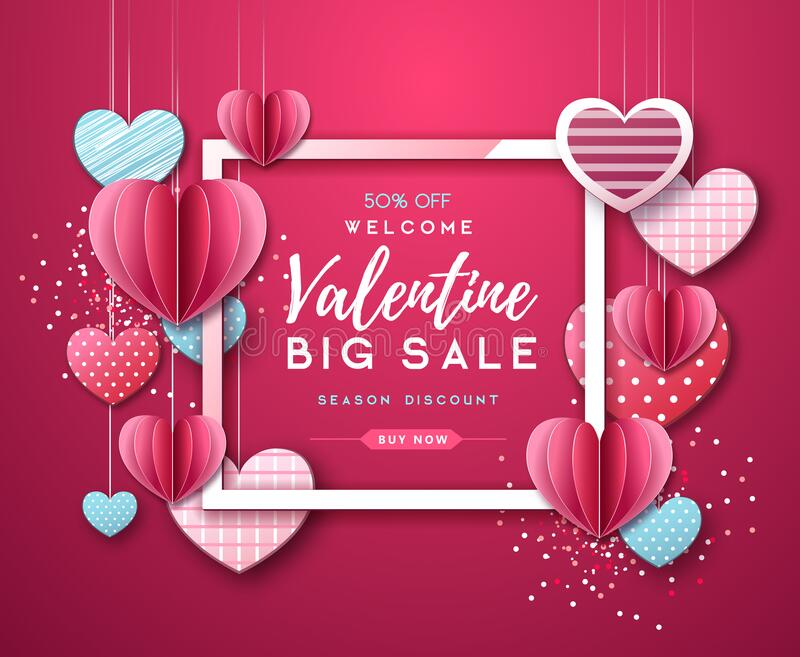 Happy Valentine`s day background with love hearts. Valentine`s day sale poster. Happy Valentine`s day background with love hearts. Valentine`s  sale poster royalty free illustration