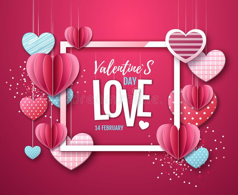 Happy Valentine`s day background with love hearts. Vector illustration vector illustration
