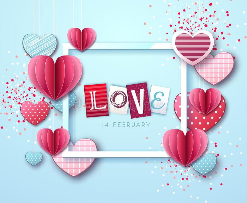 Happy Valentine`s day background with love hearts. Vector illustration royalty free illustration