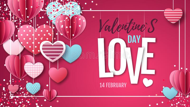 Happy Valentine`s day background with love hearts. Vector illustration stock illustration