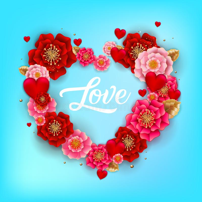 Happy Valentine`s day banner with beautiful colorful flowers and. Hearts on blue background. For template, banners, wallpaper, flyers, invitation, posters vector illustration