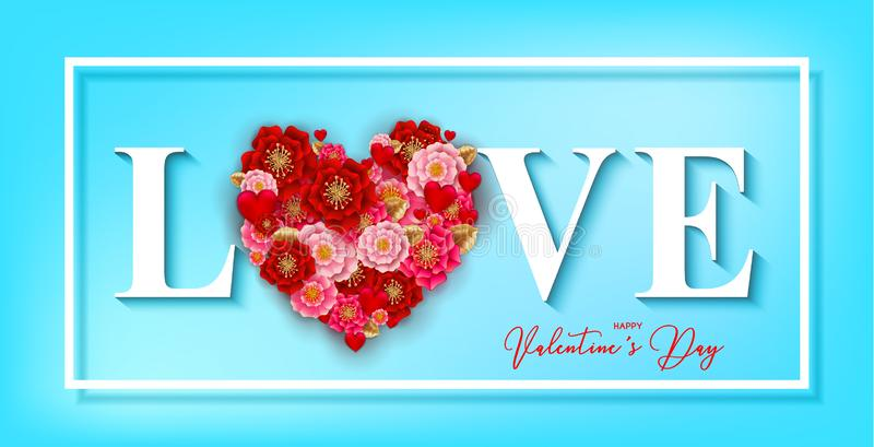 Happy Valentine`s day banner with beautiful colorful flowers and. Hearts, serpantine on blue background.For template, banners, wallpaper, flyers, invitation stock illustration